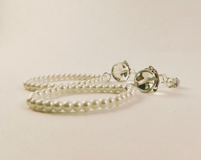 Glass pearl bridal hoop earrings