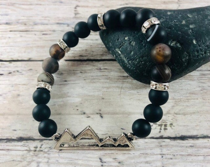 Men's Beaded Black Onyx and Silver Metal Bracelet