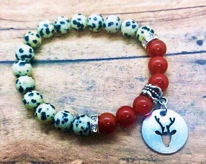 Healing Bracelet, Dalmatian Jasper Bracelet, Red Jade Bracelet, Spiritual Healing Yoga Wrist Mala, Buck-head Deee Charm Jewelry