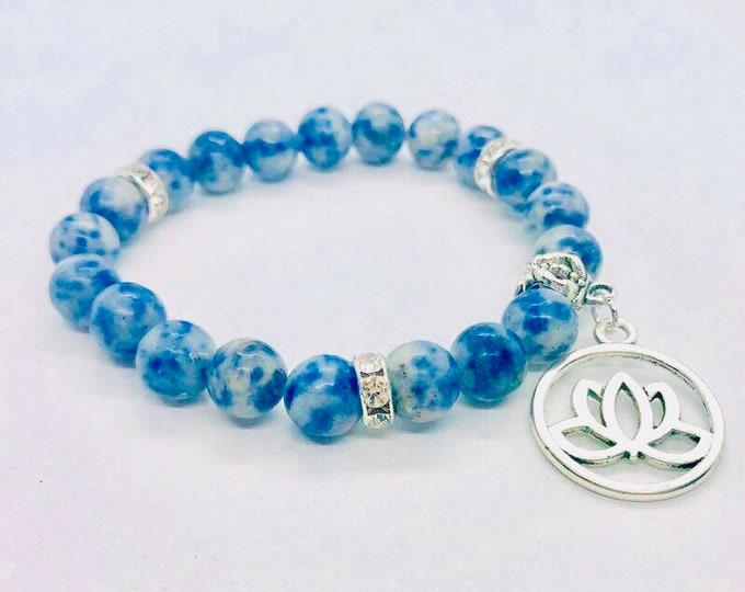 Sodalite Bracelet, Third Eye Chakra Healing Yoga Jewelry 8mm Beads