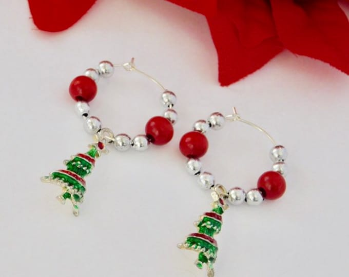 Christmas Tree Silver Hoop Earrings