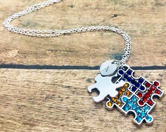 Autism Awareness Puzzle Pieces and Initial Charm, Sterling Silver, Personalized Letter Disc