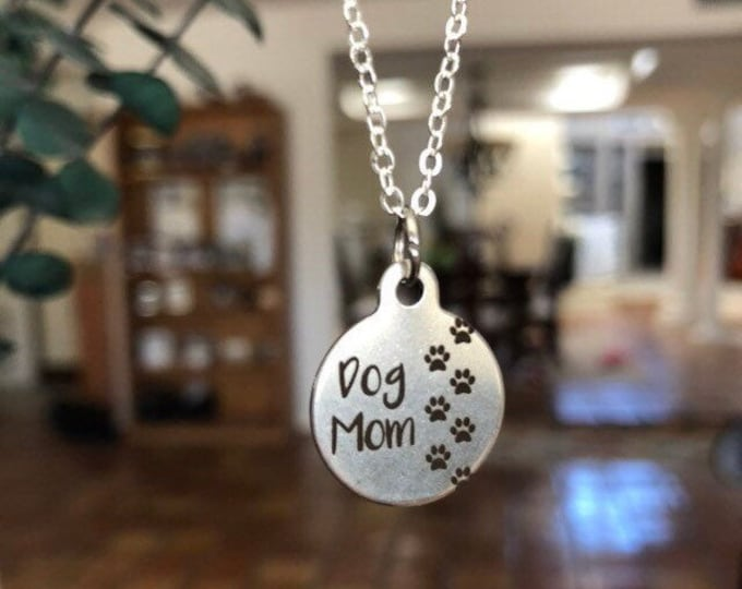 Dog Mom Necklace, Sterling Silver, Pendant Neclace, Animal Gift for Dog Lovers, Gift for Her