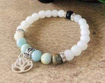 Lotus Flower Bracelet, Amazonite Bracelet