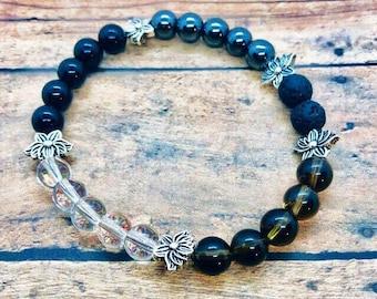 Anti-Inflammation Healing Bracelet, Arthritis Crystal Bracelet, Joint Anti-inflammation Jewelry, Black Tourmaline, Smokey Quartz, Hematite