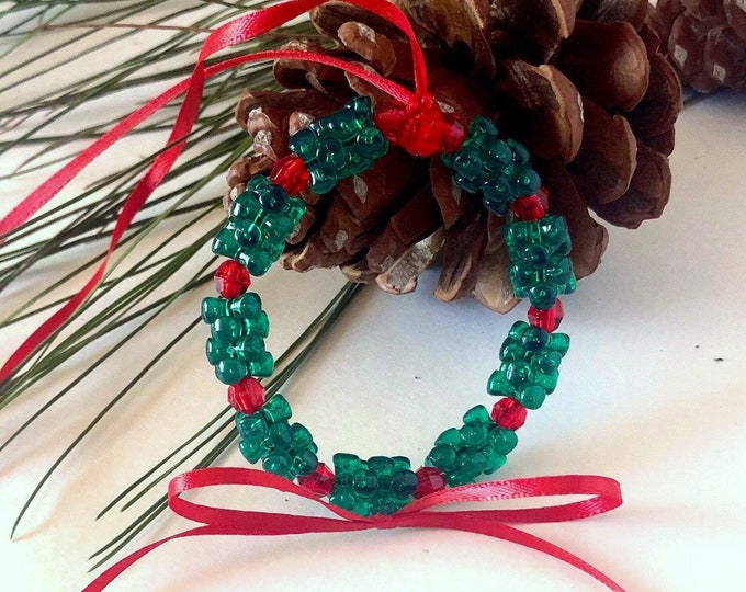 Handmade Beaded Ornament, Wreath Christmas Tree Ornament, Green and Red Faceted Beads, Country Christmas Decor, Rustic Holiday Decor