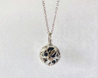 Stone Holder Necklace, Sterling Silver, Silver Plated Chain, Aromatherapy Locket
