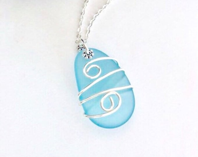 Sea Glass Necklace Sterling Silver, Wire Wrapped Sea Glass Pendant, Aqua