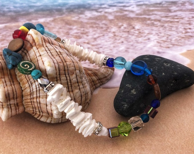 Shell Anklet, Beaded Ankle Bracelet, Boho Beaded Beach Ankle Jewelry, Stretchable Foot Anklet