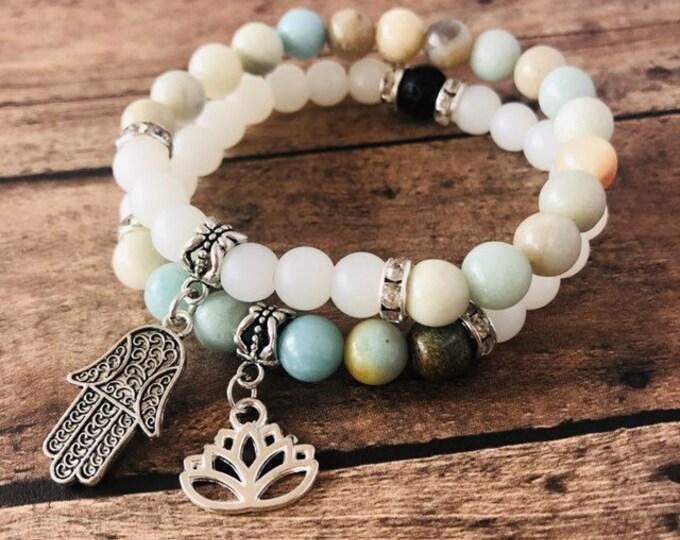 Amazonite and Frosted Quartz Crystal Balance Diffuser Bracelet Set
