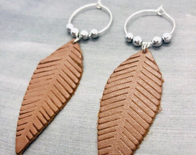 Leaf Earrings, Leather Long Hoop Earrings Sterling Silver, Silver Plated, Brown Leather Light Leaf Earrings, Autumn Jewelry
