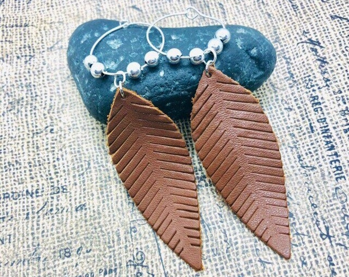 Leaf Earrings, Leather, Long Hoop Earrings, Sterling Silver, Brown Leather Light Leaf Earrings, Autumn Jewelry