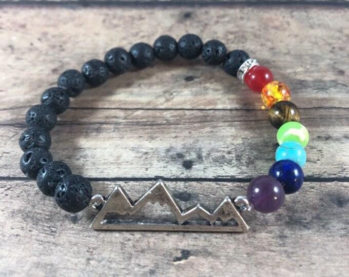 Chakra Bracelet, Mountain Charm, 7 Chakra Bracelet