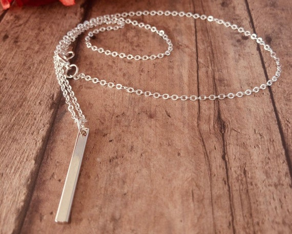 Silver Vertical Bar Long Necklace
