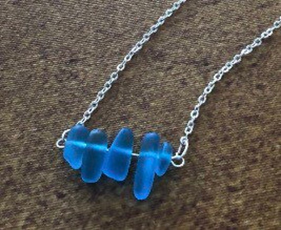 Sea Glass Silver Bar Necklace, Aqua Blue