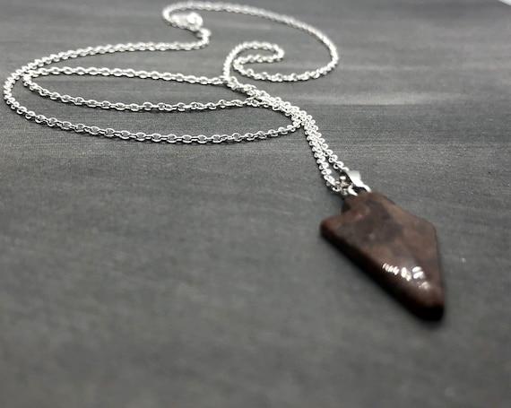 Jasper Arrowhead Necklace, Sterling Silver, Healing Gemstone Pendant, Arrow Head Flint Stone Tribal Jewelry, Heart Chakra