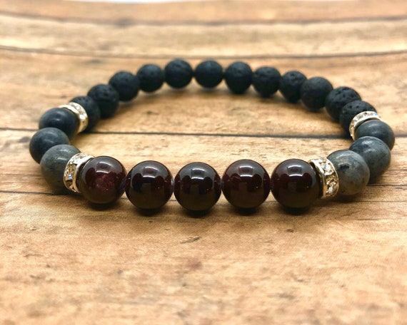 Garnet Bracelet, Labradorite Essential Oil Diffuser Bracelet, Focus Support Natural Gemstone Jewelry, Mens Healing Crystals, Womens Gift