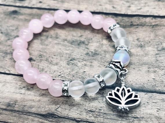 Rose Quartz Lotus Flower Crystal Healing Yoga Bracelet