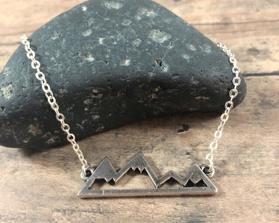 Mountain Necklace, Sterling Silver, Stainless Steel, Nature Long Necklace, Mountain Charm Jewelry, Minimalist Silver Gift for Hiker