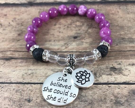 Gemstone Bracelet, She Believed She Could So She Did Inspirational Bracelet, Purple Jade Lava Stone Quartz Bracelet, Daughter Gift, Birthday
