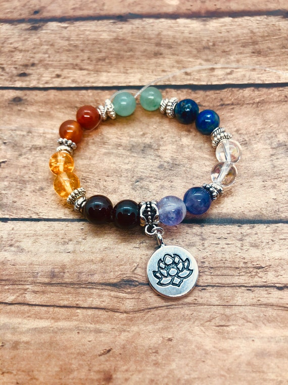 Healing Chakra Bracelet, Crystal Bracelet, 7 Chakra Yoga Meditation Bracelet with Meaning Card, Gemstone Rainbow Jewelry, Gift for Her