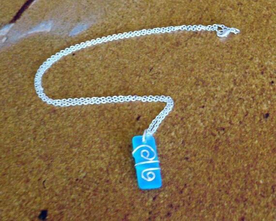 Natural aqua sea glass wire wrapped Pacific blue sea glass pendant necklace