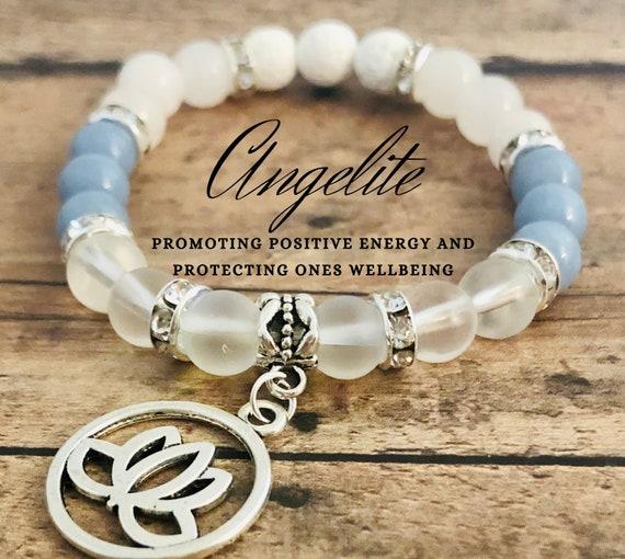 Angelite Bracelet Lotus Flower Bracelet