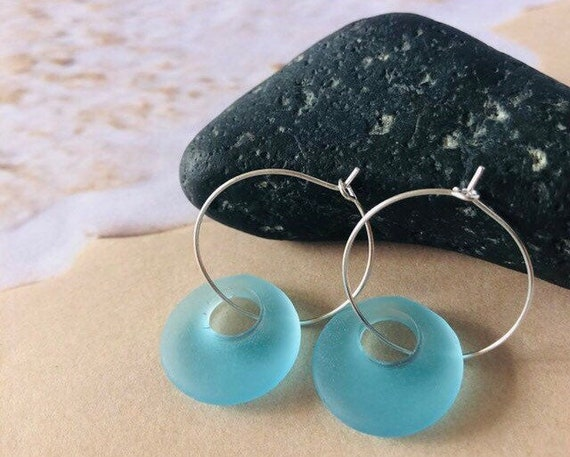 Sea Glass Earrings, Sterling Silver, Silver Plated