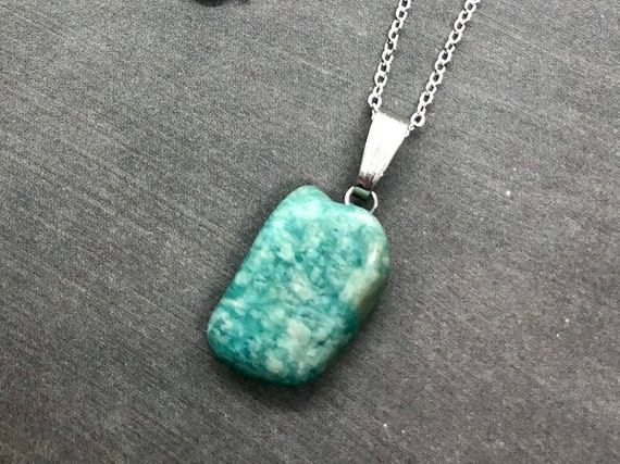 Amazonite Pendant Necklace, Sterling Silver, Healing Gemstone Pendant, Natural Stone Tribal Jewelry, Polished Calming Stone