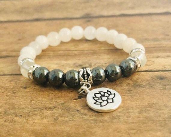 Anti-inflamation Aid Crystal Bracelet, Lotus Flower Bracelet, Spiritual Healing Yoga Jewelry, Hematite, Jade, Gift for Her