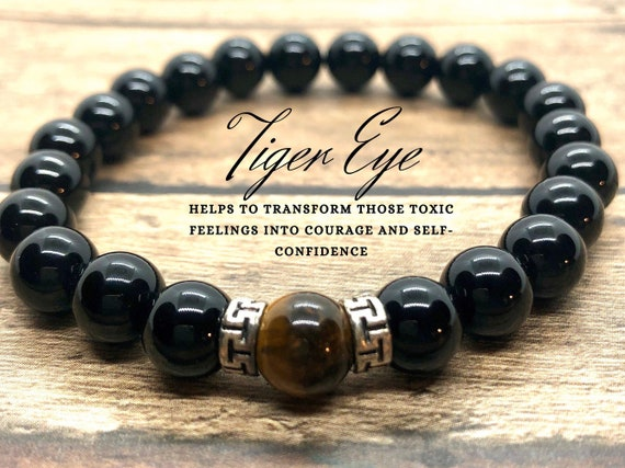 Genuine Tiger Eye Bracelet, Black Onyx Bracelet, 7 Chakra Energy Bracelet, Power Protection Bracelet, Men Women, Father's Day Gift
