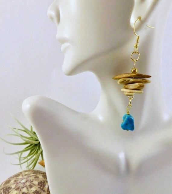Wooden and turquoise dangle earrings