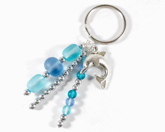 Sea Glass Keychain Necklace Blue Beaded