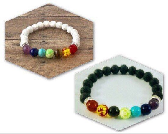 Chakra Bracelet Set 7 Chakra Bracelets Diffuser White and Black Lava Beads