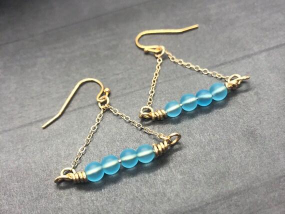 Sea Glass Earrings, Sea Glass Gold Filled Earrings, Blue Sea Glass Earrings, Aqua Beach Glass Gold Drop Earrings