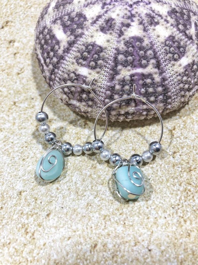 Beach Glass Dangle Earrings Sea Glass Earrings Wire Wrapped Sea Glass Silver Hoop Earrings Seafoam Sea Glass Drop Earrings