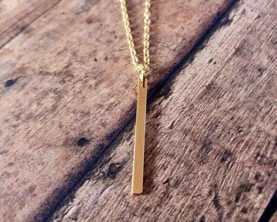 Gold Filled Vertical Bar Necklace