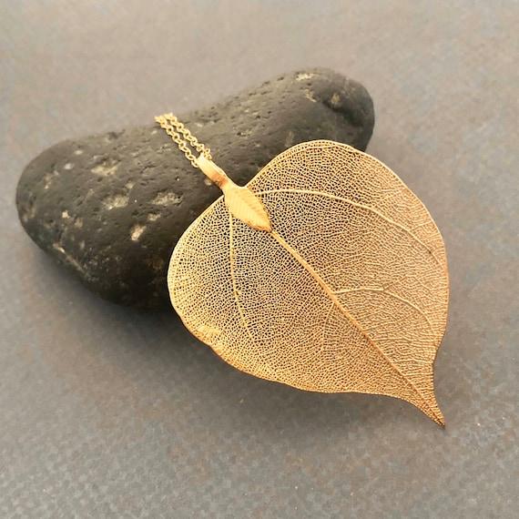 Real Leaf Necklace, Gold Filled, Natural Leaf Long Necklace, Gift for Her