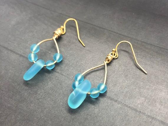 Sea Glass Earrings, Sea Glass Gold Filled Earrings, Blue Sea Glass Dangle Earrings, Aqua Beach Glass Gold Earrings