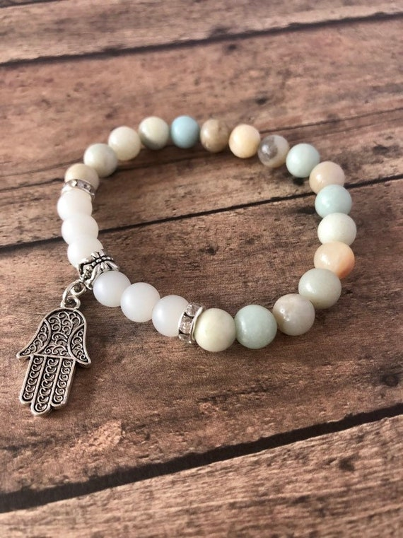 Hamsa Hand Wish Amazonite and Frosted Quartz Bracelet