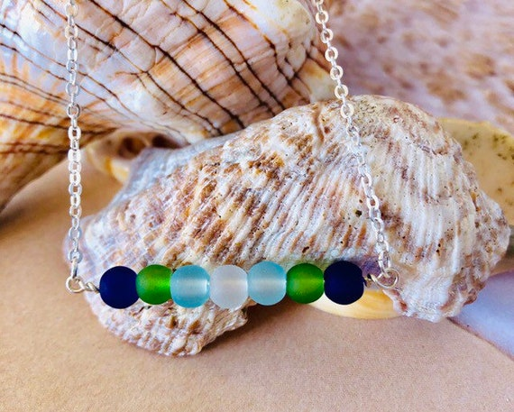 Sea Glass Beaded Necklace Sterling Silver