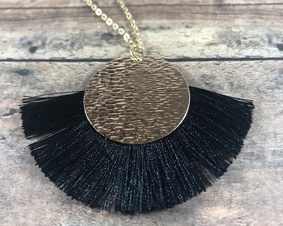 Long Layered Gold Necklace Tassel Necklace Gold Filled Chain Gold Plated Chain Black Fringed Gold Medallion Pendant