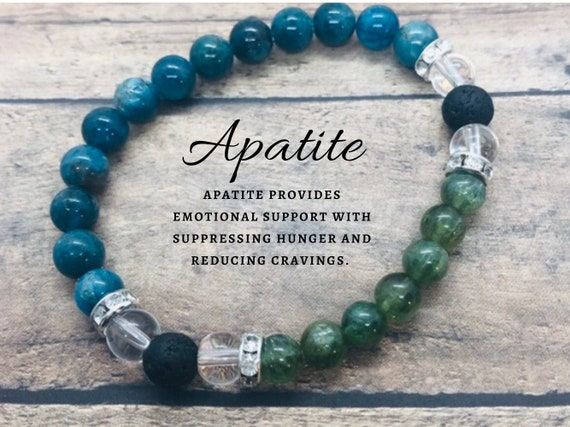 Weight Loss Support Bracelet, Green and Blue Apatite Bracelet, Diffuser Bracelet