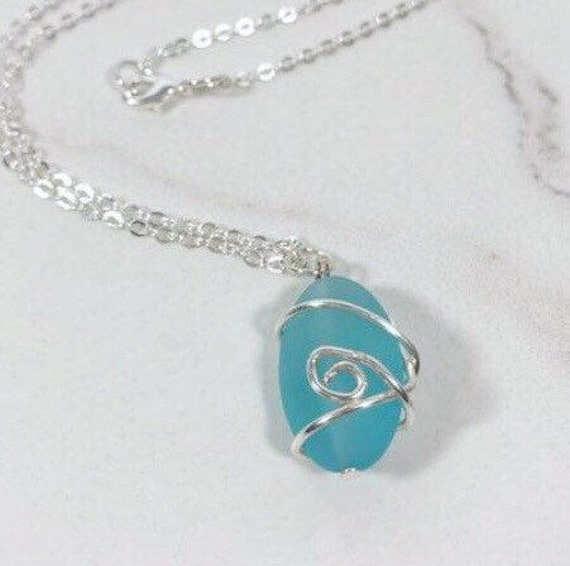 Wire Wrapped Sea Glass Necklace Silver Wire wrapped sea glass blue