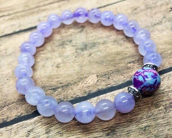 Amethyst Bracelet, Anxiety Healing Bracelet, Gemstone Calming Bracelet, Imperial Jasper Yoga Bracelet, Meditation Wrist Mala