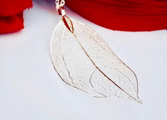 Real Leaf Necklace Sterling Silver