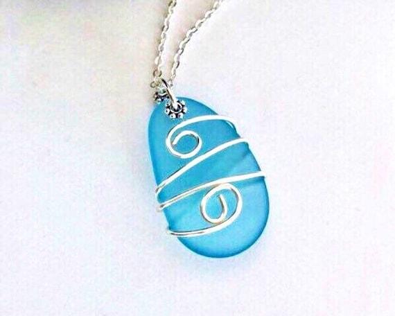Sea Glass Necklace Sterling Silver, Wire Wrapped Sea Glass Pendant, Aqua