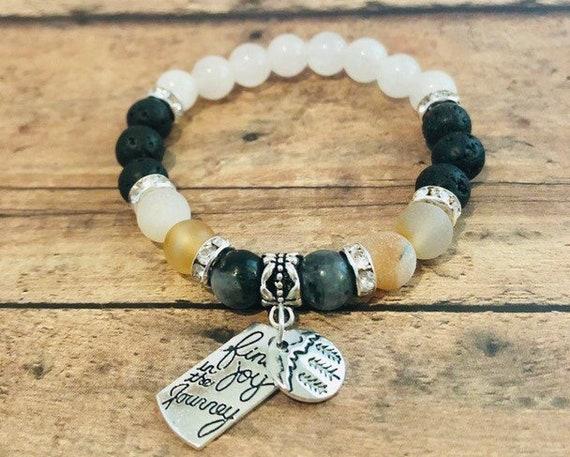 Beaded Bracelet Agate & Labradorite Bracelet Crystal Stretch Bracelet