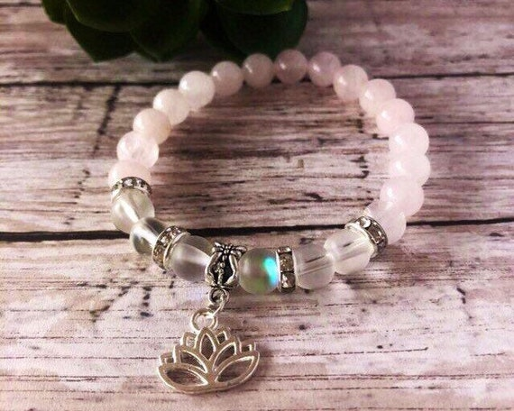 Rose Quartz Lotus Flower Crystal Healing Yoga Bracelet