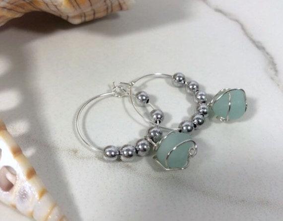 Sea Glass Sterling Silver Hoop Earrings
